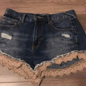 FREE PEOPLE high waisted lace trim jean shorts