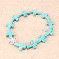 All Over Turquoise Cross Bracelet