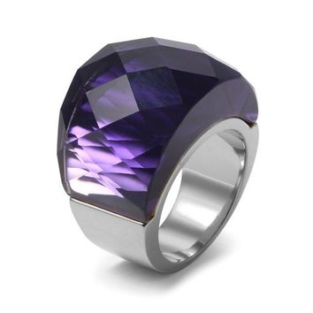 Multi Color Big crystal Stainless Steel Fashion Modern Ring
