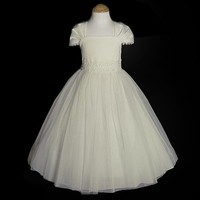 Girls Ivory Satin Mesh Overlay Cap Sleeves First Communion Dress 2T-16