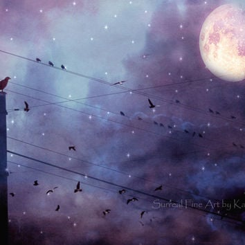 Nature Photography, Surreal Full Moon Photo, Gothic Raven Crows Full Moon, Raven Crow Birds on Wire Photo, Fantasy Full Moon Photos 8x12