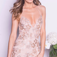 DOA DRESS IN NUDE WITH GOLD