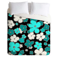 Madart Inc. Puffy Flower Turquoise Black Duvet Cover