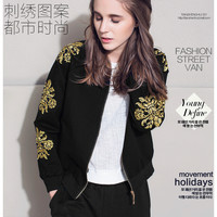 European and American Fan delicate embroidered flowers long-sleeved jacket