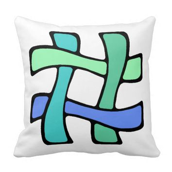 Curvy and Colorful # Hashtag Pillow
