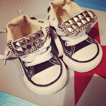 DCCKHD9 Toddler Custom Studded Converse! Chuck taylor custom shoes! ALL SIZES & COLORS!!