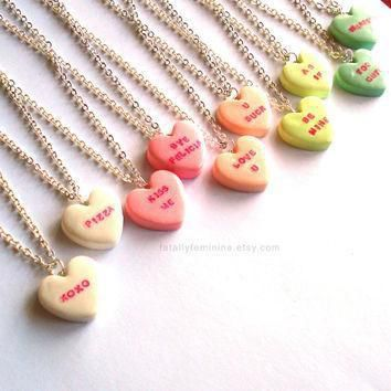 custom conversation heart necklace valentines day necklace pink candy necklace kawaii