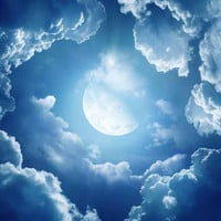 "Ceiling STICKER MURAL air moon blue clouds decole poster 93x93""(236x236cm) /"