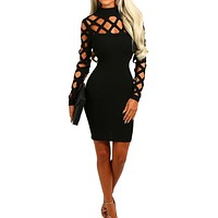 Hollow Out Long Sleeve Hollow Out Dress