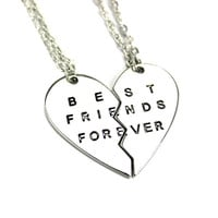 Best Bitches Friends Forever Two Disc Lovers Pendant Necklace = 1930317060
