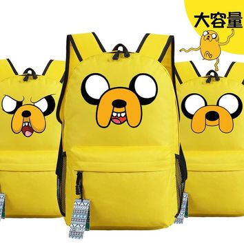 Anime Adventure Time Jake Emoji Printing Backpack Canvas Backpacks for Teenage Girls School Bags for Teenagers Mochila Feminina