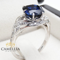 Cushion Cut Sapphire Engagement Ring  Vintage Engagement Ring Cushion Cut Spphire Ring