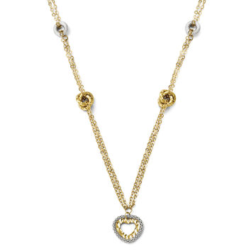 Leslie's 14k Two-tone Polished and D/C Fancy Heart Necklace LF265