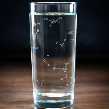 Molecules of Water Tumbler Drinking Glass | H2O Chemistry Molecular Science Learning Gift