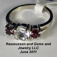 B Cubic Zirconia and Garnet Ring on Handmade Artists' Shop