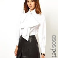 ASOS Petite | ASOS PETITE Exclusive Exaggerated Pussy Bow Blouse at ASOS