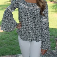 Bangles Boutique — BLACK & WHITE PRINT BELL SLEEVE TOP