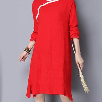 Streetstyle  Casual Band Collar Contrast Trim Side Slit Excellent Shift Dress