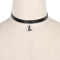 Brown Colored Triangle Crystal Pendant Choker Necklace