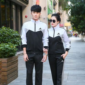Adidas Fashion Casual Multicolor Stitching Stripe Unisex Long Sleeve Zip Cardigan Couple Sweater Set Two-Piece Sportswear