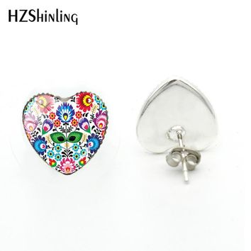 2018 New Polish Folk Pattern Heart Earring Glass Dome Photo Earrings Handmade Jewelry Silver Art Ear Studs For Women