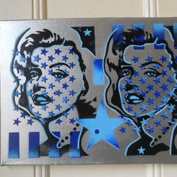 painting of marilyn monroe on canvas,stars & stripes,stencils and spraypaints,norma jean,flags,americana,star,icon,blues,silver,chrome