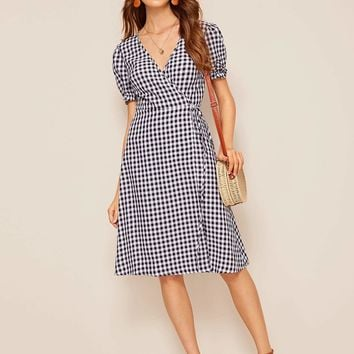 Surplice Wrap Knot Front Gingham Dress