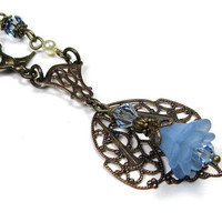 Victorian Style Necklace, Vintaj Brass, Periwinkle Blue, Swarovski Crystals, Lucite Flowers, Soft and Feminine, Womens Accessories, Filigree