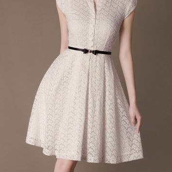 Beige Short Sleeve Lace Chiffon Belted A-Line Pleated Mini Dress
