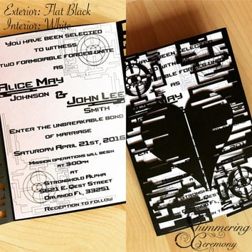 video game wedding invitation laser cut techie heart and sci fi halo design custom