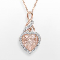10k Rose Gold Morganite & Diamond Accent Heart Pendant (Pink)