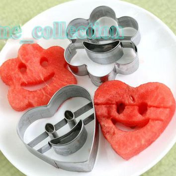 4pcs Smile face Star Round Heart Flower Stainless Steel Fruit Mousse Cake Fondant Biscuit Cookie Cutter Kitchen Decor DIY Tools
