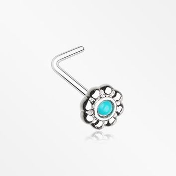 Bali Flower Turquoise L-Shaped Nose Ring