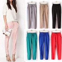 NIBESSER Women Casual Loose Pants Solid Elastic Harem Waist Chiffon Pants Spring Summer Stretch Female Trousers Clothing