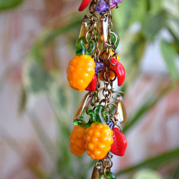 Lampwork necklace Pineapple jewelry Glass necklace Fruit necklace Glass bead Harvest Nature jewelry Food Vegetable Fall Autumn wedding gift