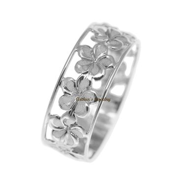 SOLID 14K WHITE GOLD HAWAIIAN FANCY PLUMERIA FLOWER 6.5MM LEI RING