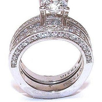 2 ct Round Cut Cz Zirconia Solitarie Wedding Engagement Ring Set Stainless Steel