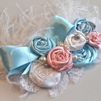 Light blue satin over the top headband, pink, whitePhoto prop flower crown for newborn-toddler-baby girl-teen-adult