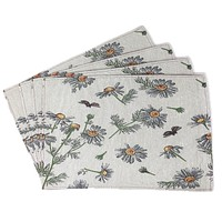 Tache Floral Yellow Daisies Ladybugs Ivory Woven Tapestry Placemats (18114)