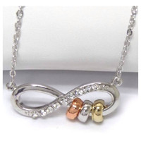 Beautiful Rhinestone Accented Infinity Triple Ring Pendant Necklace