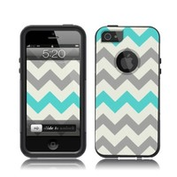 iPhone 5 / 5S Case [Black] Chevron Grey Teal [Dual Layer] UnnitoTM *1 Year Warranty* Case Protective [Custom] Commuter Protection Cover iPhone 5S