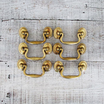 Drawer Handles 6 Mid Century Drawer Handle Brass Drawer Pull Antique Drawer Pulls Vintage Dresser Hardware Cabinet Door Drawer Pulls