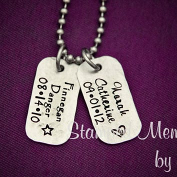 Dad's Brag Tags - Hand Stamped Personalized Necklace - Stainless Steel Mini Dog Tag - Fathers Day Gift