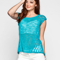 Eyeshadow Crochet Inset Womens Burnout Tee Turquoise  In Sizes