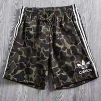 Adidas man Camouflage surf white stripe shorts green pants H-YF-MLBKS