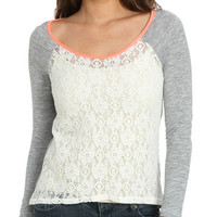Lace Front Baseball Tee | Shop Tops at Wet Seal