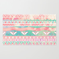 Watercolor Turquoise Pink Girly Abstract Aztec Area & Throw Rug by Girly Trend