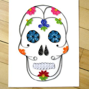 Sugar Skull Wall Art, Paper Quilled Dia de los Muertos, Mexican Skull, Quilling Sugar Skull, Canvas Art, Paper Art, Home Decor, Unique Gift