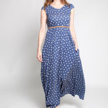 Oversized maxi dress - loose fit dress - sundress - summer maxi dress - maxi dress - womens casual summer dress - star print dress