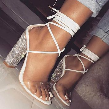 Fashionable white transparent high-heeled sandals and open-toe crystal heels are hot sellers